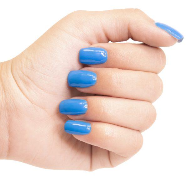 Esmaltes de uñas permanente on off azul cyan
